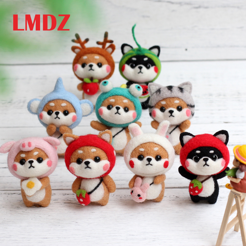 LMDZ DIY Needle Felting Kit Needle Crafts Wool Felting Animals Kit DIY Handmade Non Finished Dog Handcraft With Needle Felting