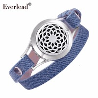 EVERLEAD Denim leather bracelet Aromatherapy Jewelry health locket Love your body pretty band Diffusers Blue bracelets for women
