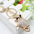 15 style Gold Rhinestone Women Animal Luxury Owl Car Pendant Keychains Bag Charm Crystal Opal Key Ring Chain Fashion Jewelry