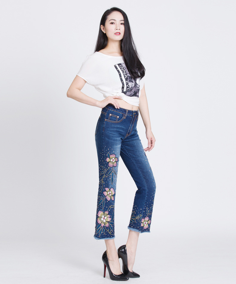 KSTUN Womens Jeans Flare Pants Stretch Slim Fit High Waisted Sequin Embroidered Floral Denim Sexy Ladies Push Up Big Size Mujer 14