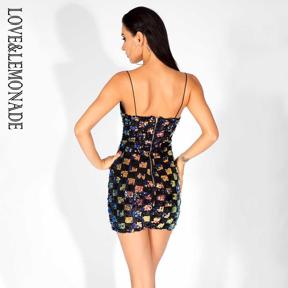 Love & Lemonade сексуальное клетчатое платье без бретелек с блестками, тонкие вечерние платья, LM80635-1, черный цвет