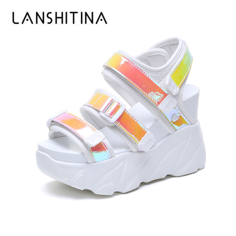 2019 Summer High Heel Sandals Women 11CM Wedges Thick Bottom Casual Shoes Comfortable Platform Beach Sandals Gladiator Sneakers