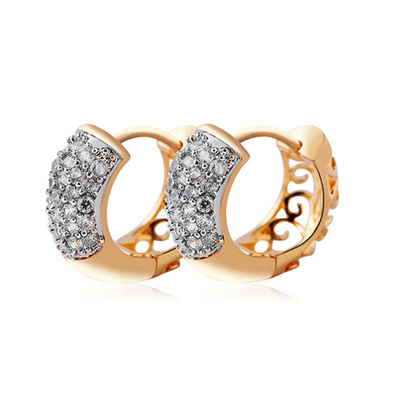 New Gold Color Earring Small CZ Hoop Earrings For Women Brinco ...