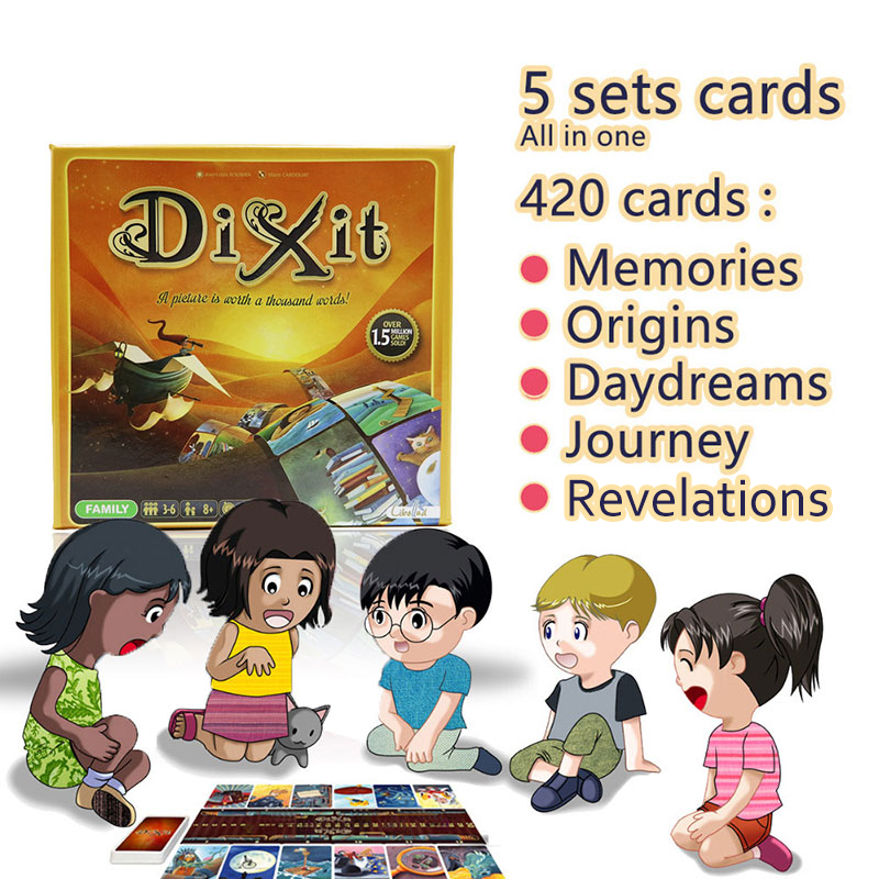 цена card game Dixit English board games gather 420 cards origins/journey/daydreams/memories/revelations gift hard box jogo juego