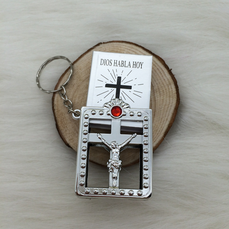 US $112 5 |Free Shipping Jesus Christian Gifts Wholesale Silver Plated Mini  Spanish Espana Version Small Pocket Bibles Keychain-in Party Favors from