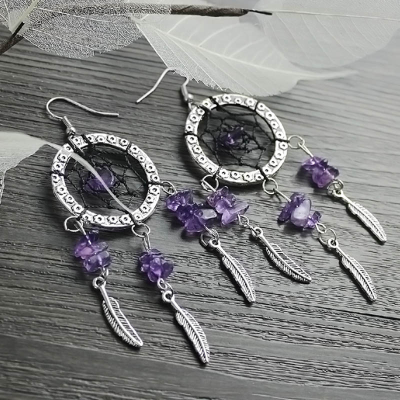 MEMOSTO Dream Cather European and American exquisite handmade original antique amethyst dream net earrings feather stud