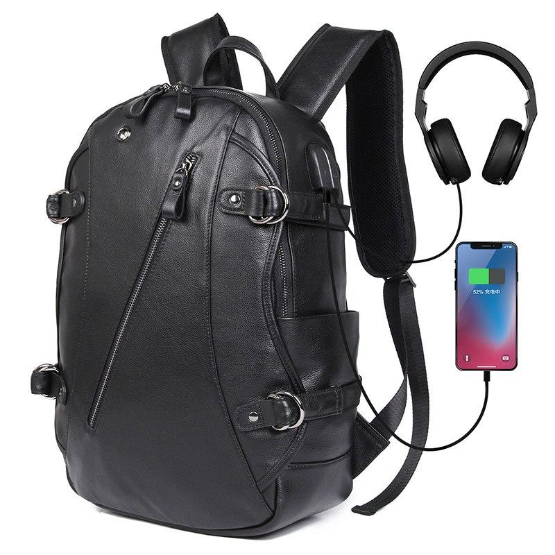 J.M.D Genuine Leather Men's Backpacks Black Shoulders Unique Design Multi Pockets Laptop Backpack For Teenager 2018A