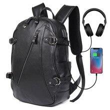 J.M.D Genuine Leather Mens Backpacks Black Shoulders Unique Design Multi Pockets Laptop Backpack For Teenager 2018A