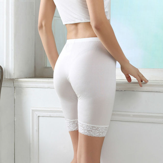 silk women safety short pants Natural silk seamless Healthy Half length shorts femme dentelle white black nude 2016 underwear