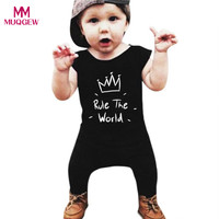 Hot Sale Infant Baby Girls Boys Letters Print Sleeveless Jumpsuit   Romper   Clothes Overall One Piece Children Kid   Rompers   Outwears