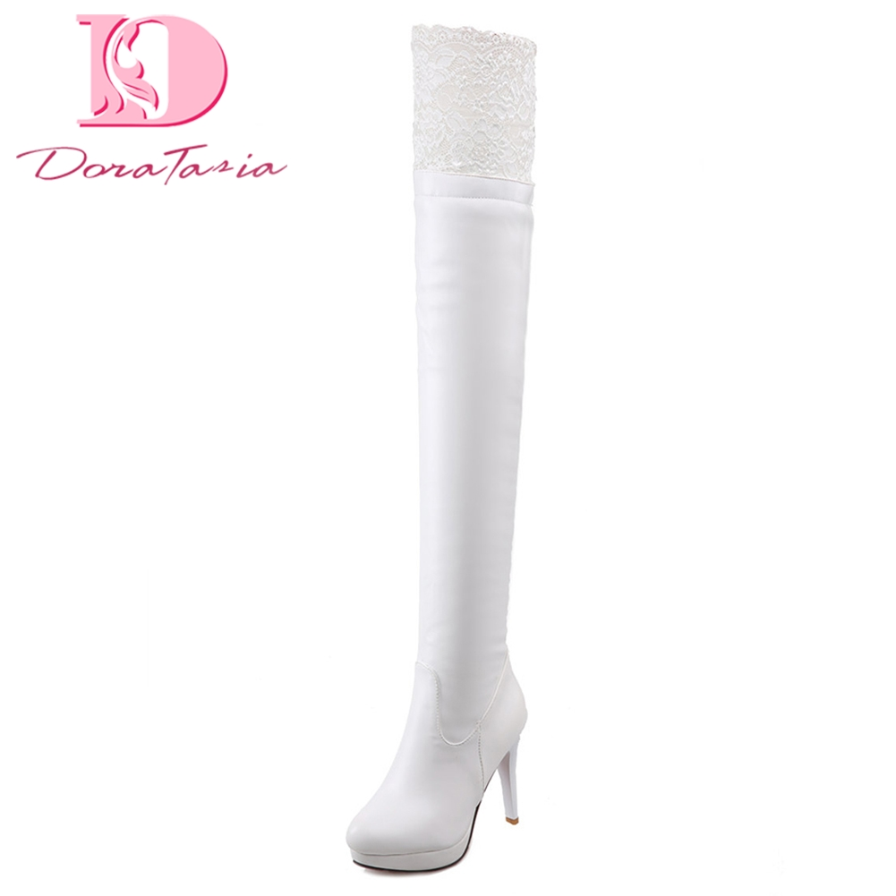 DoraTasia 2018 brand large sizes 34-43 winter knee-high Boots Women Shoes Woman thin high Heel Black Woman Shoes sexy long boot cicime summer fashion solid rivets lace up knee high boot high heel women boots black casual woman boot high heel women boots