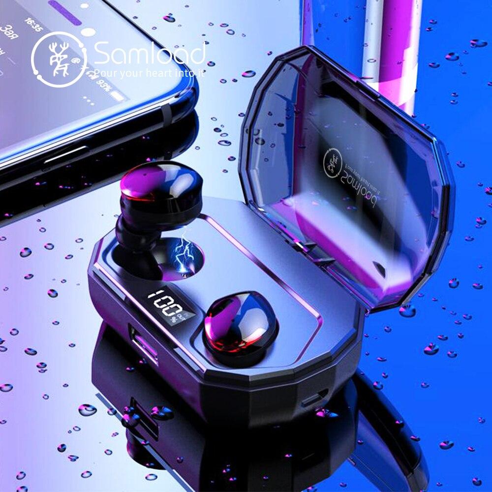 Samload Sans Fil casque stéréo Bluetooth 5.0 dans l'oreille Écouteurs HIFI Son avec 2000 mAh Powerbank charge Boîte Pour IOS Android