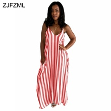 ZJFZML New show up highest 2017 casual gown females red vertical striped long maxi gown summertime v neck khaki beach gown