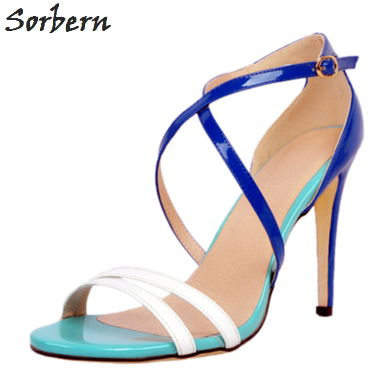 Sorbern Womens Sandals Summer 2017 Plus Size Ladies Shoes For Womens High Heels Sandals Women Sandalias Mujer Buckle Straps new 2017 spring summer women shoes pointed toe high quality brand fashion womens flats ladies plus size 41 sweet flock t179
