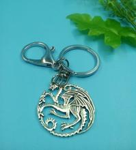 33x36mm Game of Thrones Dragon Pendant Key Chains & Key Rings Antique Silver Charm Lobster Clasp For Car Decorative Gift 1 pcs