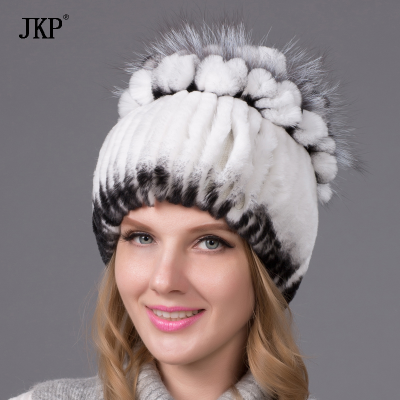 women winter Rex natural real rabbit fur hat feather fox knitted - Apparel Accessories