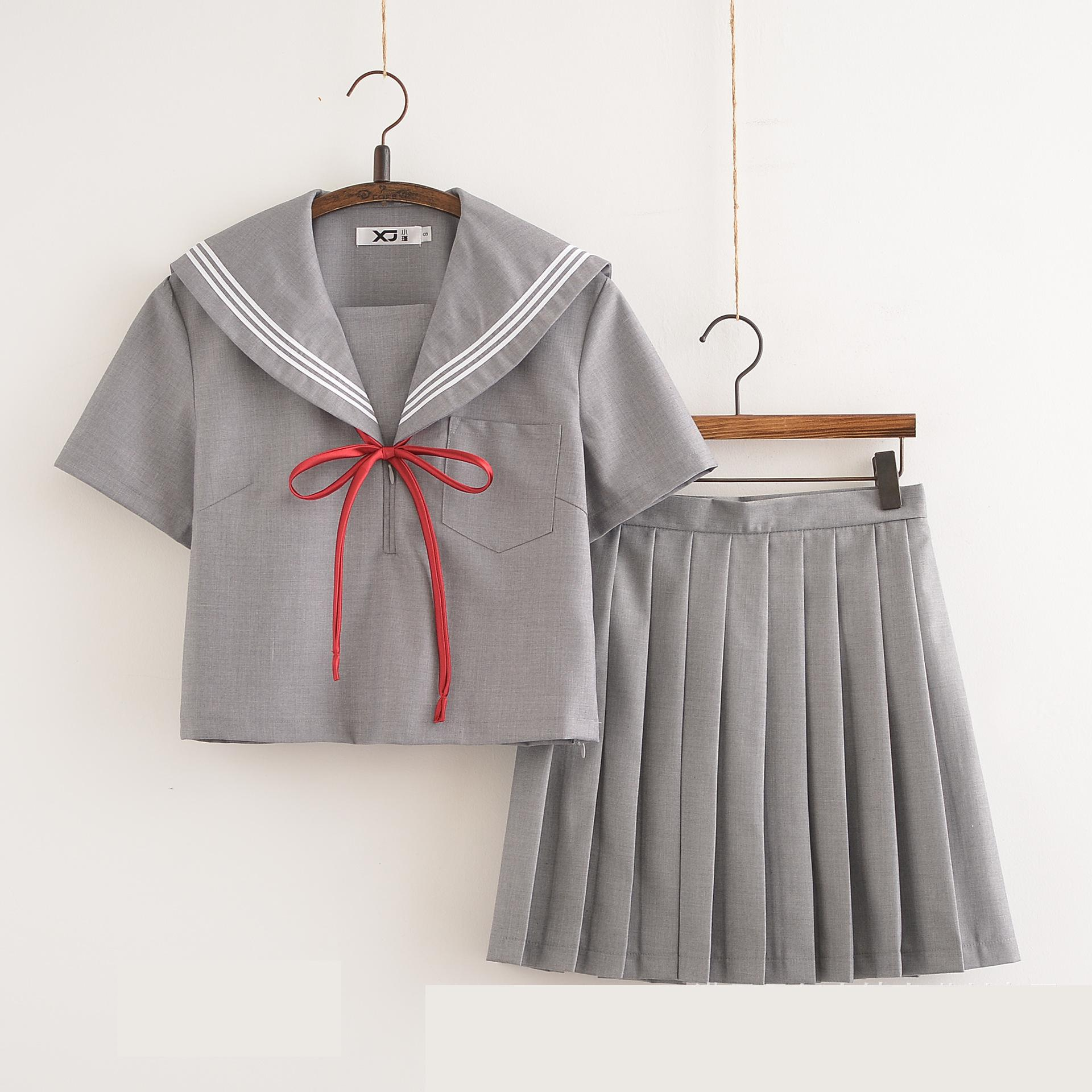 Costume School Girl Uniform Short Sleeves Japanese Korea Students Pleated Skirt Suit Gray Color Cosplay Clothes Sailor Uniform