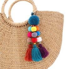 Fashion Women Bag Pendant Cute Pompon PomPom Keychain Tassel Pompom Trinket Car Key chain Accessories ring bag charm35