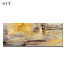Free shipping Handmade modren Abstract Yellow Oil Painting Poster wall art picture for living room bedroom home decor no framed(China)