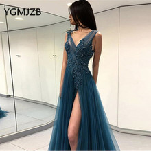 Evening Dresses Long 2019 A-Line Deep V-Neck High Side Split Backless Beaded Appliques Lace Women Formal Prom Gown Party Dress цена и фото