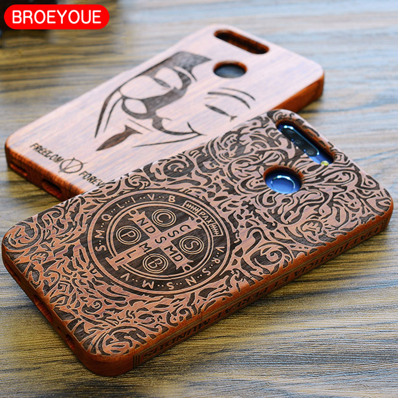 BROEYOUE Wood Case For Huawei P10 P9 P8 Plus Honor 8 7 V9 Natural Real Bamboo Carving Wooden Cases Cover For Huawei Mate 9 8 7