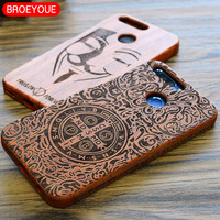 Wood Case For Huawei P10 P9 P8 Plus Honor 8 7 V9 Natural Real Bamboo Carving