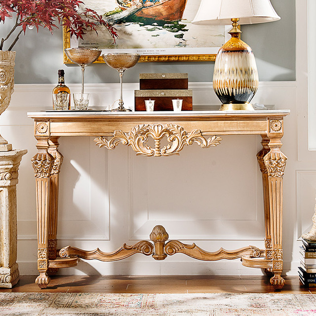 Perfect French Neo Classical European White Elm Wood Furniture Hand Carved Marble  Entrance Side Table