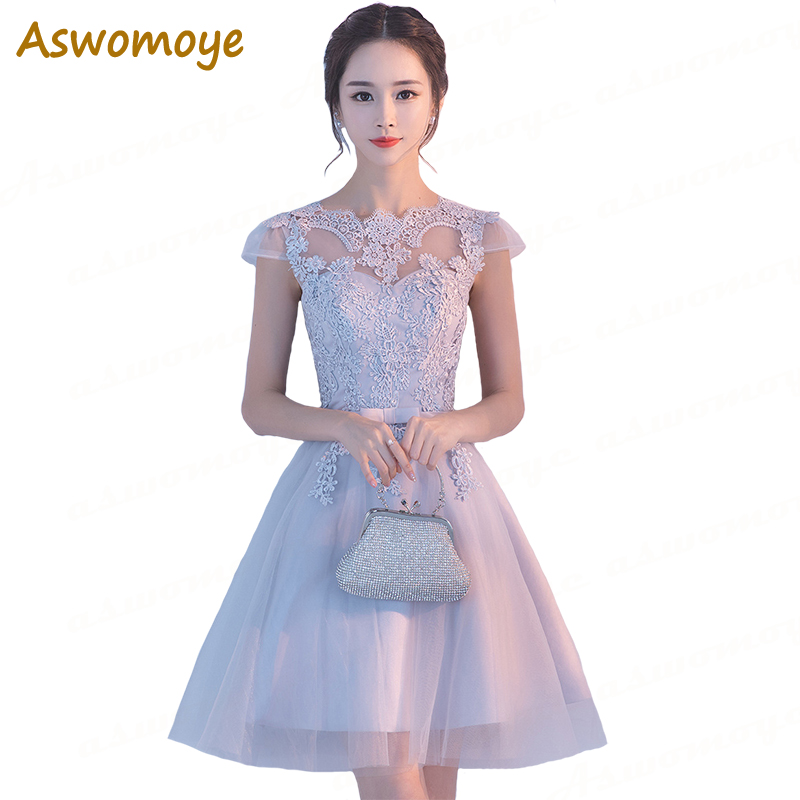 Aswomoye Short   Evening     Dress   Silver 2018 Short Sleeve Appliques Wedding Party   Dress   Bow Prom   Dresses   Lace Up Robe De Soiree