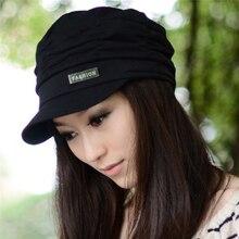 Осенне-зимняя Корейская женская вязаная шапка, плиссированная Кепка Newsboy, теплая уличная Кепка с козырьком, Череп, хлопок, повседневная женская кепка Newsboy, зимняя шапка