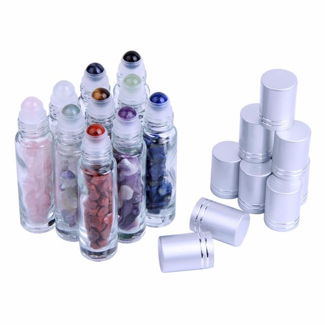 10pcs Natural Semiprecious Stones Essential Oil Gemstone Roller Ball Bottles Transparent Glass 10ml Healing Crystal Chips Inside
