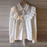 Дизайнерский бренд класса люкс Для женщин блузка 2018 высокое качество с длинным рукавом Элегантный оборками белая блузка рубашка