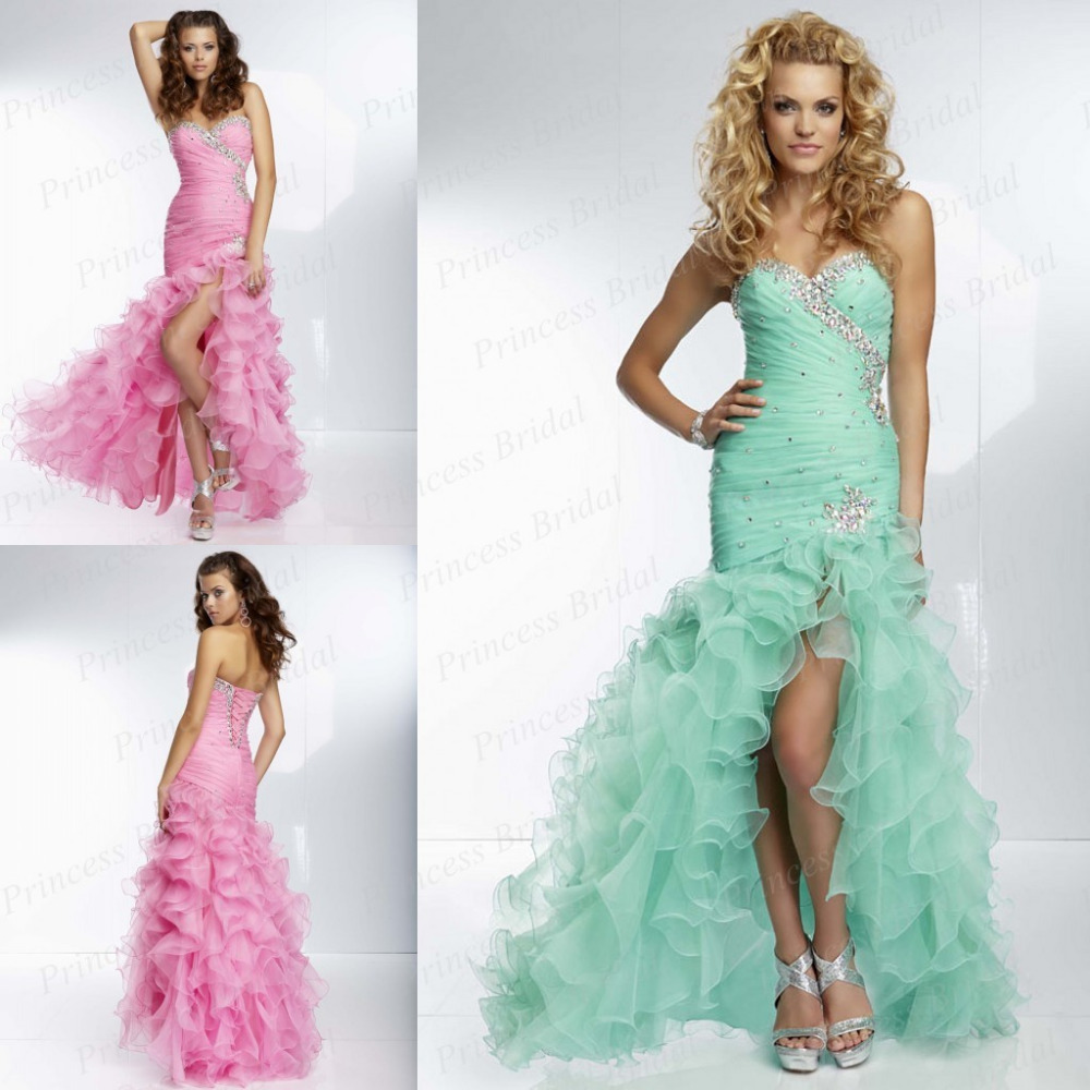Charming Trumpet Sweetheart Front Open Floor Length Ruffle Organza Corset Mermaid Prom gown Beading   bridesmaid     dresses