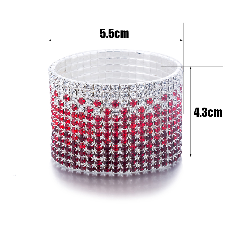 12 Rows Red and Clear Crystal Combination Wedding Bracelet Silver Plated Bridal Jewelry Rhinestone Stretch Bangles Bracelet (1)