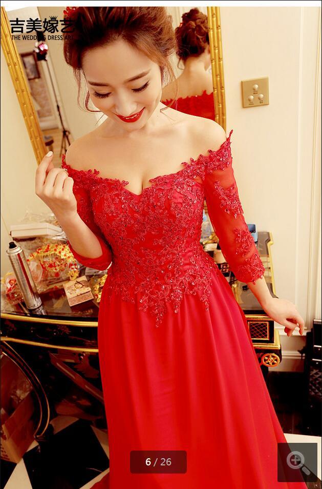 2016 nouveau design une ligne dentelle appliques perlée robe de bal de l'épaule formelle robes de bal 3/4 manches robes de bal offre spéciale - 3