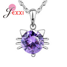 Wholesale Necklaces 925 Sterling Silver Color Purple Cubic Zirconia Kitty Cat Face Pendant Necklace For Lady Jewellery Party(China)
