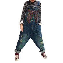 Spring Summer Women Flowers Print Denim Overalls Wide Leg Jumpsuit Ripped Holes Casual Sleeveless Jeans Jumpsuits Rompers