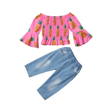 купить Set Toddler Baby Girls Ruffle Pineapple Print Tops Flare Long Sleeve Chiffon Shirt Denim Pants Outfits Clothes Autumn Set 2019 по цене 686.48 рублей
