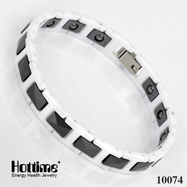 Nueva Moda Elementos Bio Energía Magnética de cerámica blanca pulseras venta caliente Amante brazaletes Joyería reparto estupendo envío libre