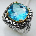 Simulated Aquamarine Women 925 Sterling Silver Ring F813 Size 6 7 8 9 10