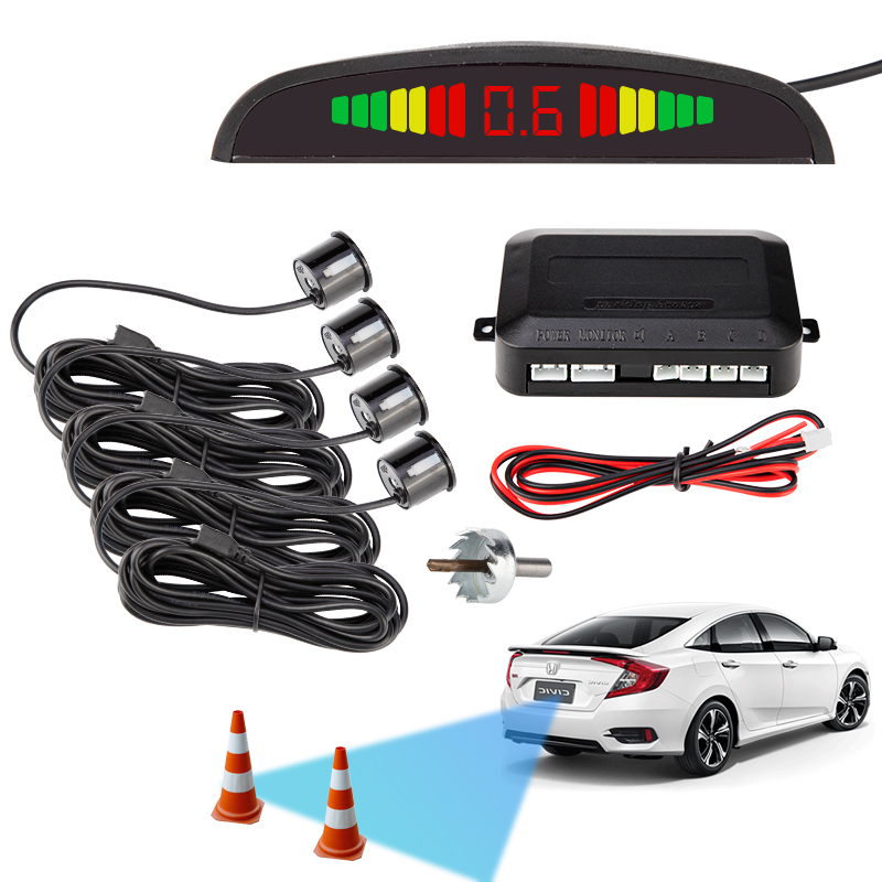 Car Auto Parktronic LED Parking Sensor With 4 Sensors Reverse Backup Car Parking Radar Monitor Detector System Backlight Display-in Parking Sensors from Automobiles & Motorcycles
