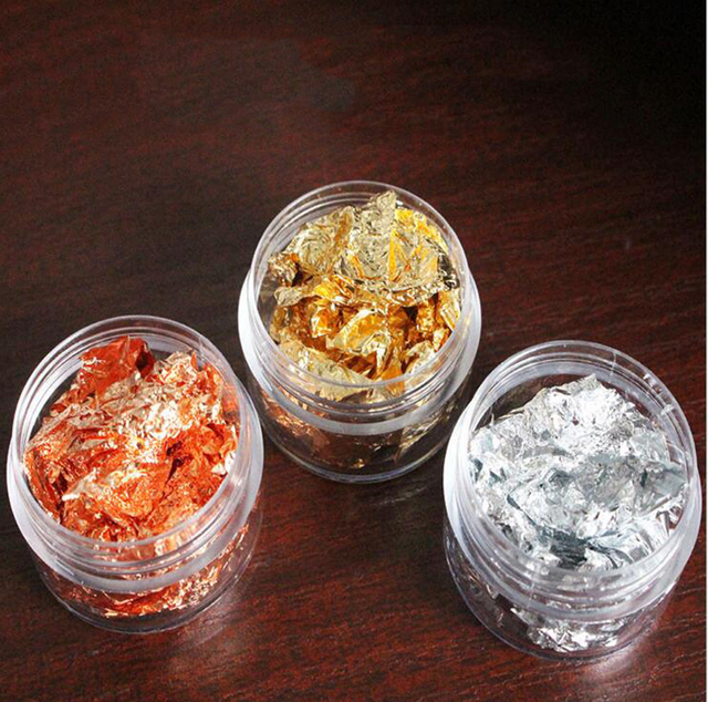 3 Jars Nail art foil   3 different colors   gold, rose gold and silver Metallic Nail foil for nail art design, Leaf Flakes