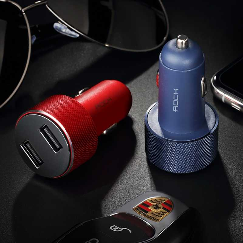 روك ميني المزدوج USB شاحن سيارة LED عرض العالمي 3.4A هاتف لوحي المحمول شحن سريع شاحن يو اس بي للسيارة 2 Usb محول