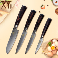 XYj Kitchen VG10 Damascus Steel Knife Bend Color Wood Handle Sharp Blade Knife Meat Fish Cooking Tools Kitchen Gadgets Tool