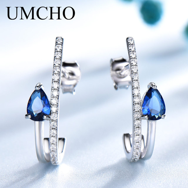 UMCHO Real Silver 925 Jewelry Water Drop Created Nano Blue Sapphire Gemstone Stud Earrings For Women Birthday Gifts Fine Jewelry