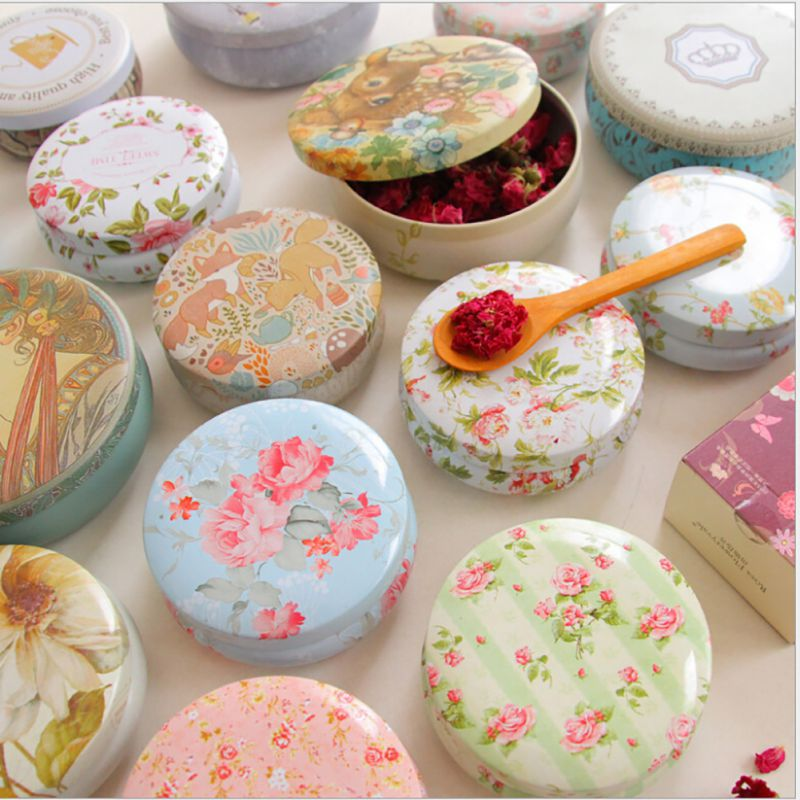 New Portable Round Tea Sugar Coffee Coin Storage Box Tin Box Kitchen Flower Drawing Style Gift 7 Colors