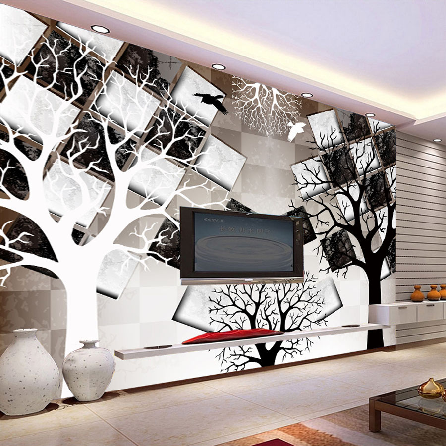 Cool black white tree check brick natrual 3d photo for Black tree wall mural