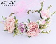 CXADDITIONS Peony Camellia Flower Crown Floral Headwrap Headband Adjustable Fleur HairBand Wreath Wedding Hair Accessories