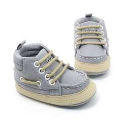 Для маленьких мальчиков обувь мягкая подошва с высоким берцем Повседневное ремень детская обувь против скольжения Prewalker малыша 0-18 м