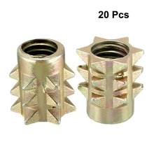 Uxcell 20pcs M4 M5 M6 Wood Insert E-Nut Screws Threaded Nuts Furniture Fittings Zinc Alloy 10mm Length OD 8mm 9mm