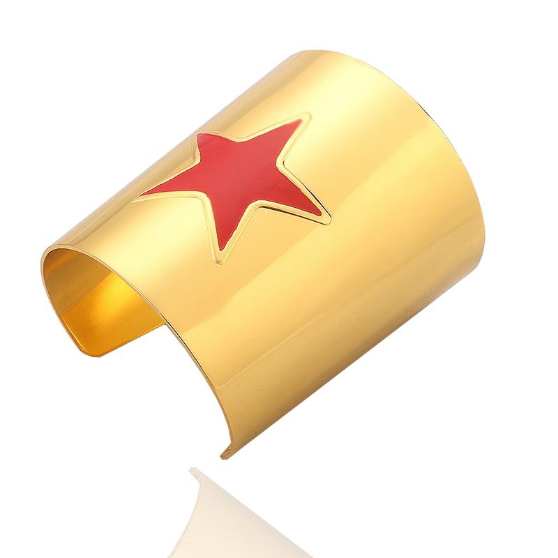 Fashion Jewelry Wonder Woman Bangle Diana Red Pentagram Yellow Enamel Bangles High Quality For Women and Girls